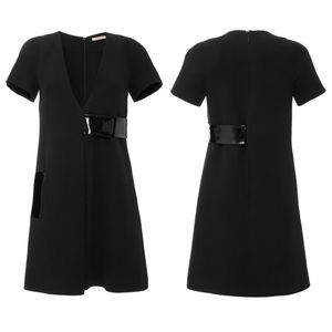 Christopher Kane Black Raglan Sleeve Leather Dress